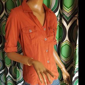 Soft rust button collar shirt patch pockets sz S